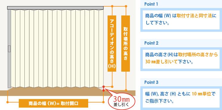 業務用アコーディオンカーテン(アコーディオンドア)採寸方法