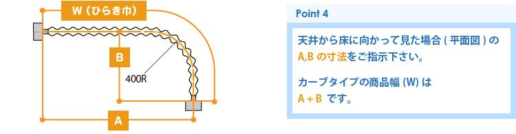 業務用アコーディオンカーテン(アコーディオンドア)カーブタイプの採寸方法