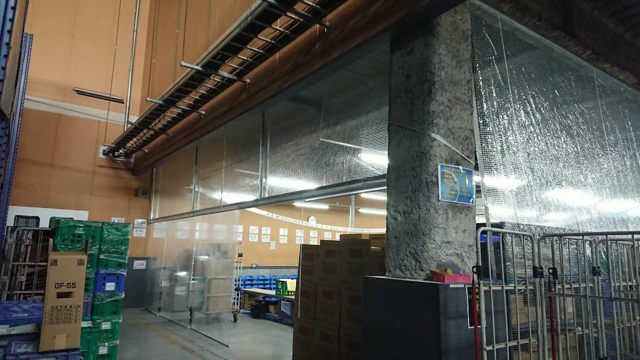 透明糸入りロールスクリーン施工事例1